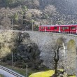 Alps Train on viaduct - Stock Photo