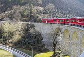 在高架桥上的阿尔卑斯山火车 — 图库照片