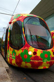 Colorful tram in Monpellier, France — Stock Photo