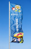 Flag with official logo for UEFA EURO 2012 — Stock Photo