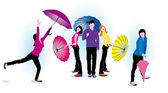 Young with umbrellas — Stock Photo