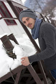 Young man in winter — Stock Photo