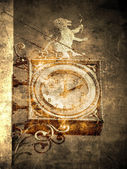 Ancient clock of lion — Stock Photo