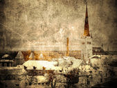 Old Tallinn- vintage and faded postcard — Stock Photo
