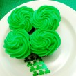 Four Leaf Clover Cupcake Display — Stock Photo