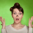 Girl shocked what is happening — Stock Photo