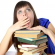 Student girl tortured by reading books — Stock Photo #9826412