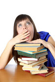 Student girl tortured by reading books — Stock Photo