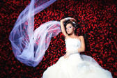 Bride with a lot of flowers — Stock Photo