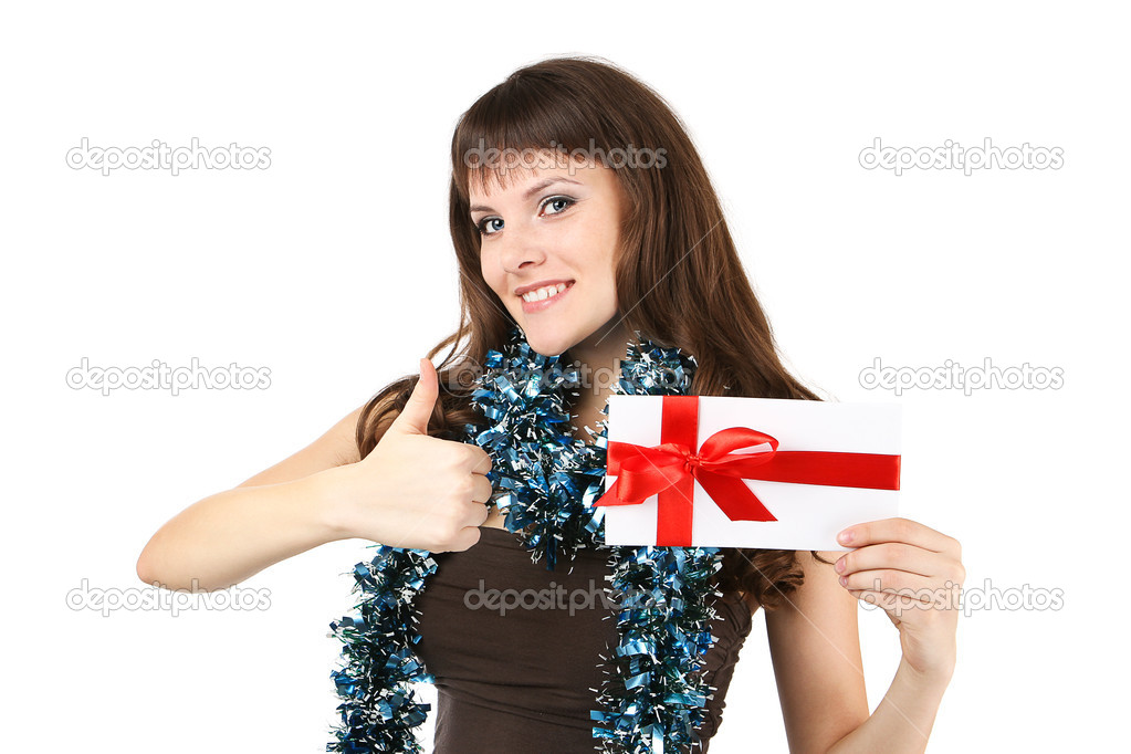 Girl holding the white letter — Stock Photo #9826171