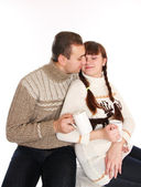 Man and woman hugging and drinking coffee — Stock Photo