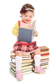 Little baby with many books — Stock Photo