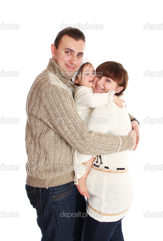 Man and woman are happy with baby girl  Stock Photo #9832538