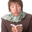 Guy caught a cold and sick — Stock Photo