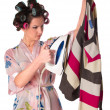 Woman is ironing clother — Stock Photo