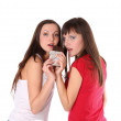 Two girls with chocolate — Stock Photo