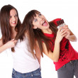 Stock Photo: Teenagers are fighting for chocolate