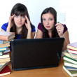 Two friends are preparing for the exam for books — Stock Photo