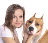 Woman with the dog — Stock Photo