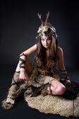 Portrait of the female viking — Stock Photo