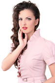 Pin up girl is thinking — Stock Photo