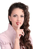 Pin up girl showing silence gesture — Stock Photo