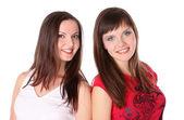 Two teenage girls smiling — Stockfoto