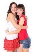 Dwóch nastoletnich dziewcząt, przytulanie — Zdjęcie stockowe