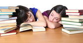 Two teenage student owned by books — Stock Photo