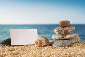 Tomt papper banner och ocean scen — Stockfoto