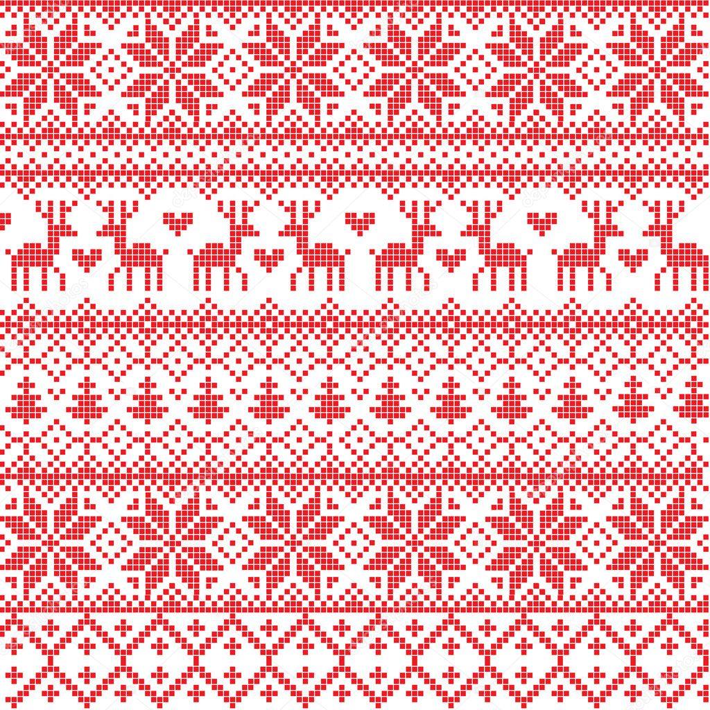 Red Nordic Pattern Stock Vector Azazelka 8063340