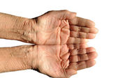 Hands of an elderly person — Stock Photo