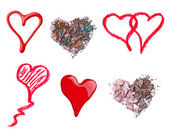 Make up accessories heart shape love — Stock Photo