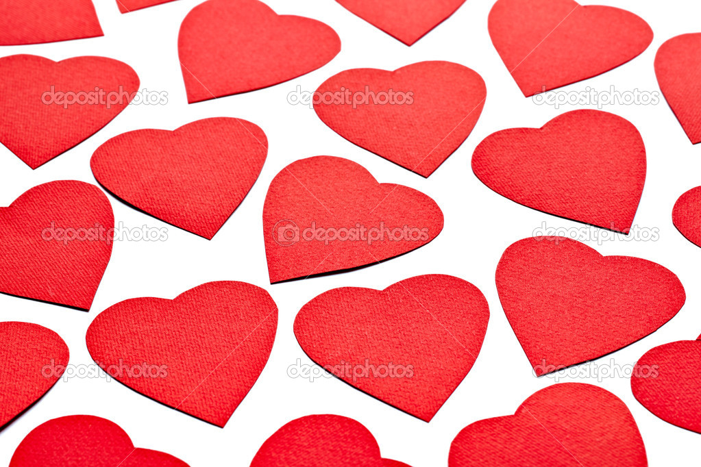 Close up of paper heart shapes on white background — Stock Photo #10369657