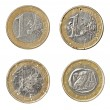 Stock Photo: Euro coin damaged worn down finance crisis