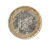 Euro coin damaged worn down finance crisis — Stock Photo