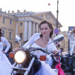 Bride on a motorcycle - Stock Photo