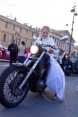 Bride on a motorcycle — Stock Photo