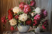 Oil Painting - Blooming Peony — Stock Photo