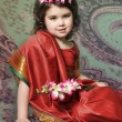 A little girl is in the national Indian suit — Stock Photo