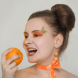 Orange girl — Stock Photo