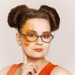 Girl with creative make-up — Stock Photo