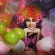 Girl clown and balloons — Stock Photo #10601144