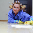 Tired woman cleaning — Stock Photo #8226096