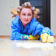 Tired woman cleaning — Stock Photo #8226100