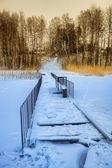 Rural mooring in snow — Stock Photo