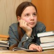 Teenager is upset by the big homework — Стоковая фотография