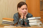 Teenager is upset by the big homework — Foto de Stock