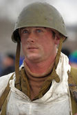 Military historical reconstruction of World War II. — Stock Photo
