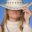 Girl wearing cowboy hat in the studio — Stock Photo #9060859
